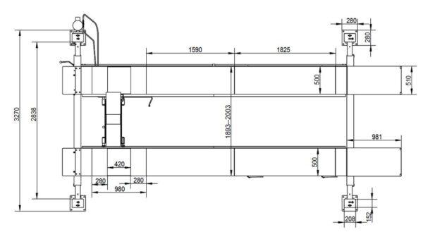 4-Säulen Hebebühne Mega - Profi-Werkstatt Technische Zeichnung