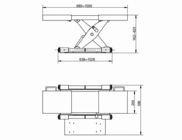 Achsfreiheber - Modell Handpumpe schmal Technische Zeichnung