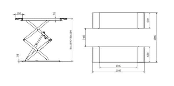 Überflur Scherenhebebühne Technische Zeichnung