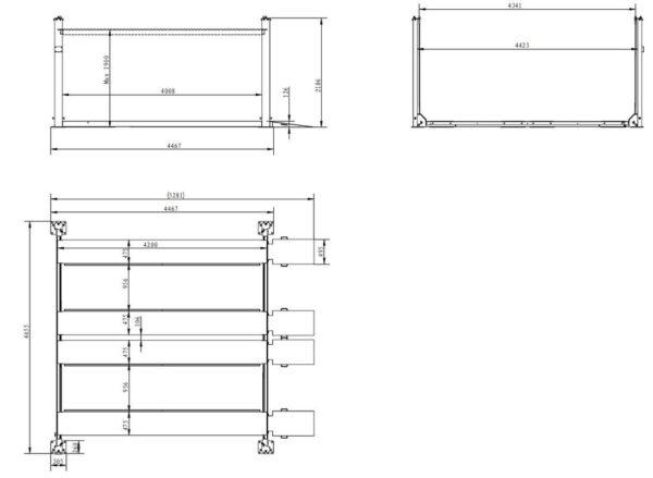 Doppelparker 4er Basic schmal Technische Zeichnung