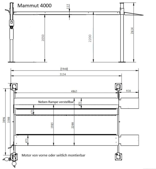 Mammut Parklift 4000 extra breit Technische Zeichnung