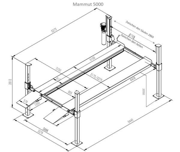 Mammut Parklift 5000 Mega Technische Zeichnung