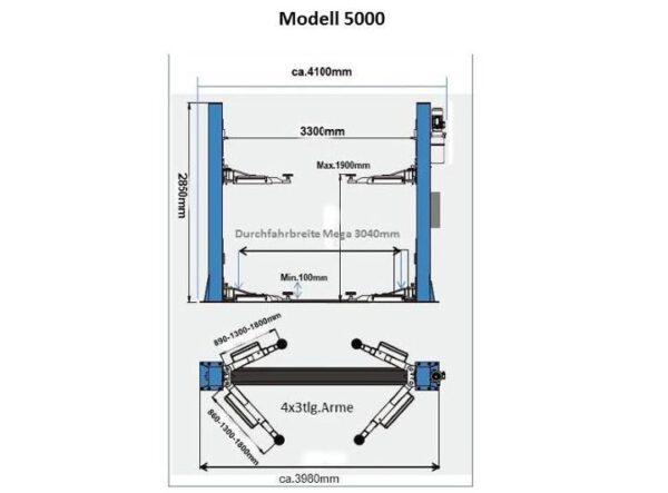 EuroLifter Hebebühne Mega-Line 5000 kg Technische Zeichnung