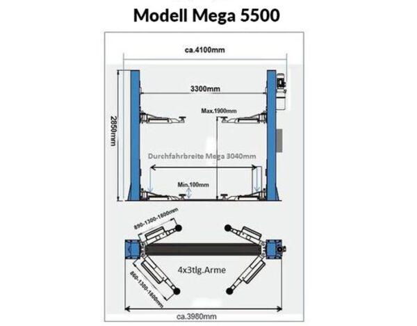 EuroLifter Hebebühne Mega-Line 5500 kg Technische Zeichnung