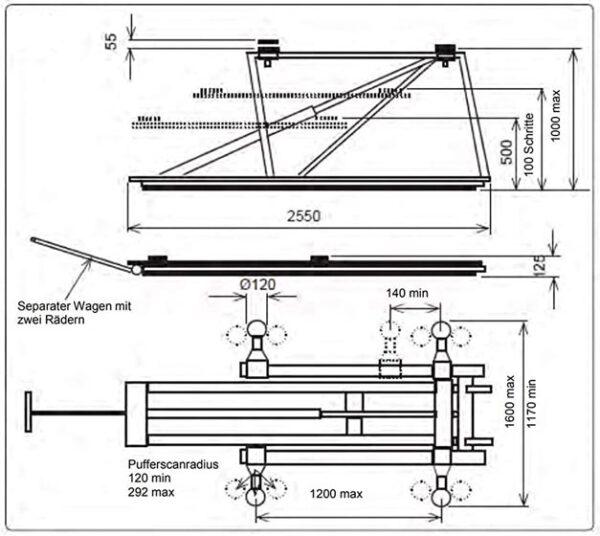 Mobile Scherenhebebühne Technische Zeichnung