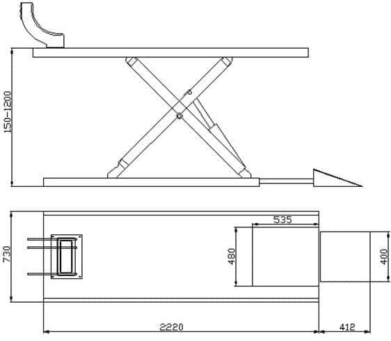 Motorrad Hebebühne Hydraulisch Profi-Line Technische Zeichnung