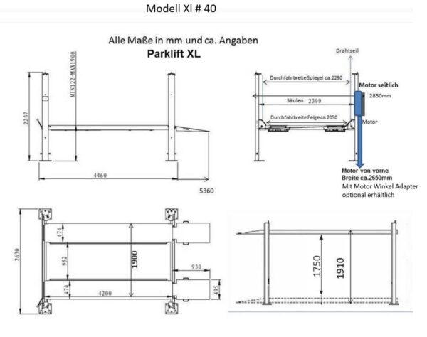 Parklift Steinbock XL Technische Zeichnung