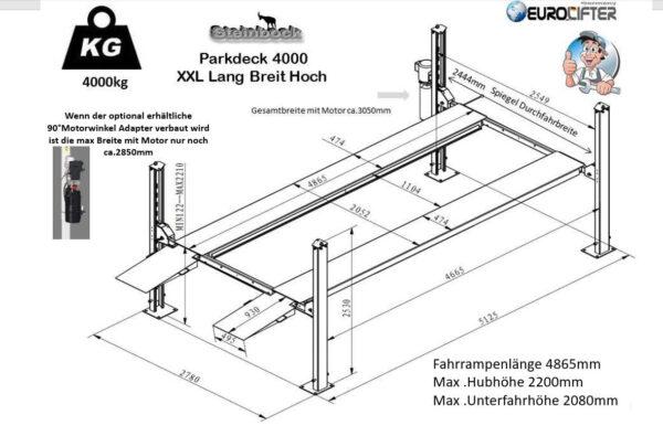 Parklift XXL - extra Breit-Hoch-Lang Technische Zeichnung