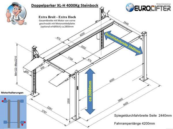 Parklift XLH extra Breit-Hoch Technische Zeichnung