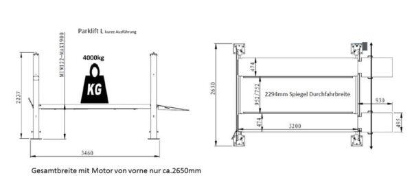 Parklift L Mini - extra kurz Technische Zeichnung