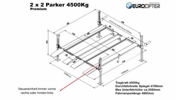 Doppelparker 4er Premium Technische Zeichnung