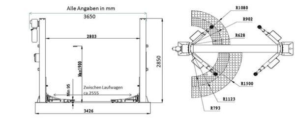 2 Säulen Hebebühne - Modell Profi 4000AG 4x3 Technische Zeichnung