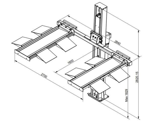 1-Säulen Parkhebebühne Technische Zeichnung