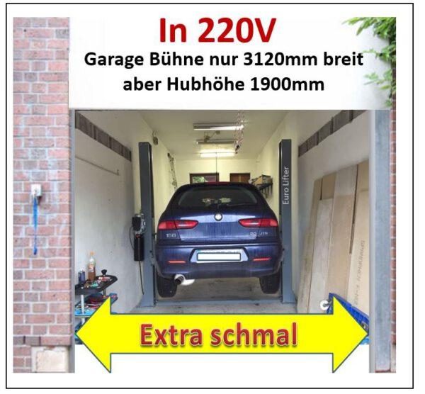 2 Säulen Hebebühne für Garagen - extra schmal