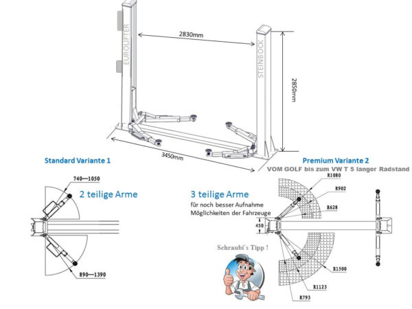 EuroLifter car lift 3-part lifting arms